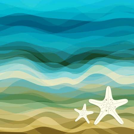 Abstrakcyjne Tło Kreatywność Projekt Blue Waves i Beige, ilustracji wektorowych EPS10 Ilustracje wektorowe