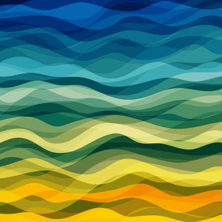 黄色と緑の波、ベクトル図 EPS10 の抽象的なデザインの創造性の背景