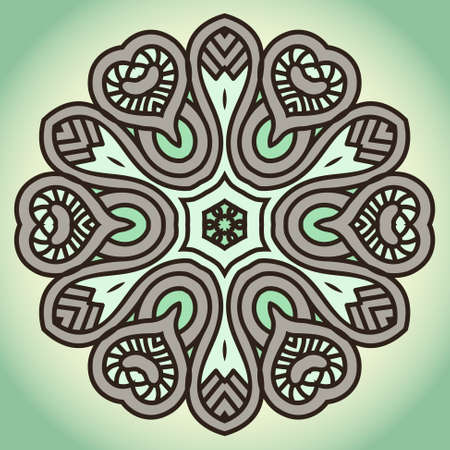 Color Round Ornamental Pattern, Mosaic Vector Stained Glass Vector