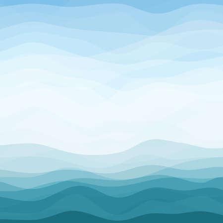 oceano: Resumen de diseño de fondo de olas Creatividad Horizontal Azul Vectores