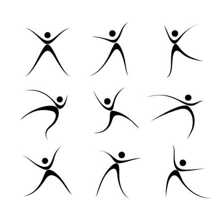 activity icon: Vector Illustration of Sports Icons. Abstract Pictures Dancing Man Illustration