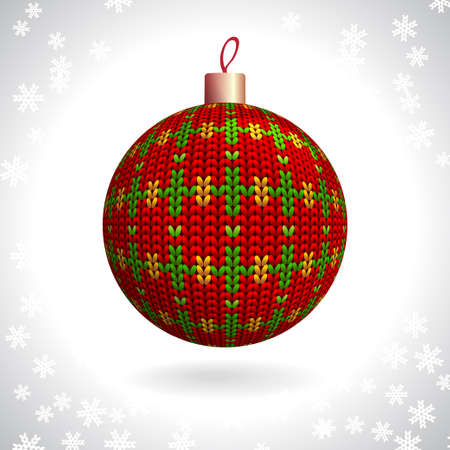 Red Knitted Christmas Ball on the Background of Snowflakes Knitted, Vector Illustration EPS10 Stock Vector - 24094479