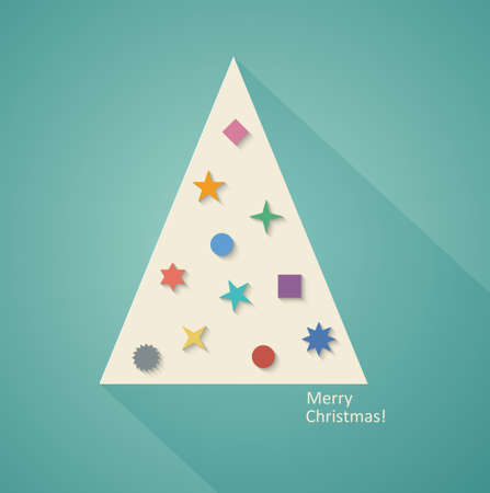 Abstract Geometric Christmas Tree, Flat Design. Vector Illustration EPS10 Vector