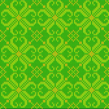 Knitted Green Pattern Background, Color Wool Vector Texture Vector