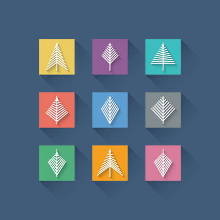 Set of Abstract Christmas Trees in Flat Design Style on Color Background Vector