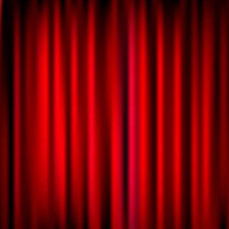sipario chiuso: Chiuso Rosso Teatro Tenda, Seta sfondo, illustrazione vettoriale Vettoriali