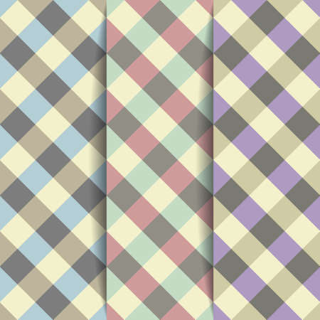 Set Geometric Backgrounds of Plaid Pattern, Vector Illustration Vector