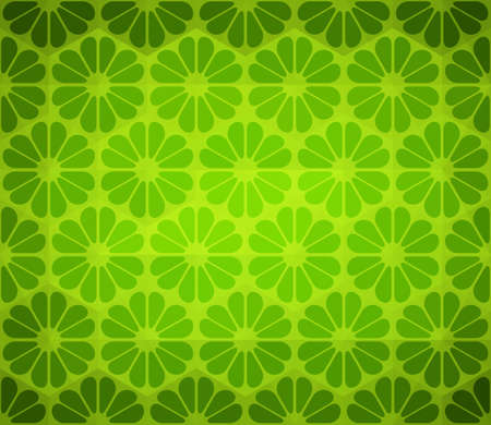 Seamless Floral Green Background, Flower Pattern Vector