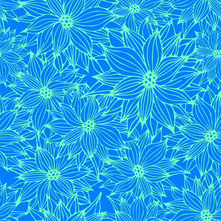 Seamless Floral Blue Background, Flower Hand Drawn Pattern, Vector Illustration Vector