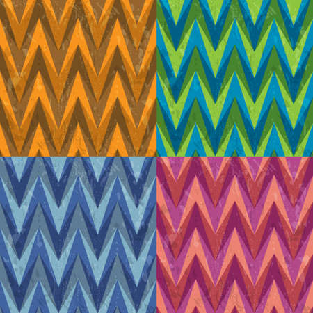 striped band: Set of Four Color Abstract Retro Vector Striped Backgrounds, Fashion Zigzag Seamless Patterns of Colored Triangles Illustration