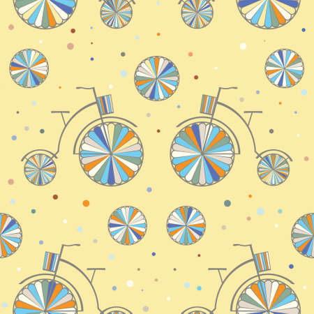 Vintage Bicycle Seamless Vector Background. Retro Bike Color Pattern Vector