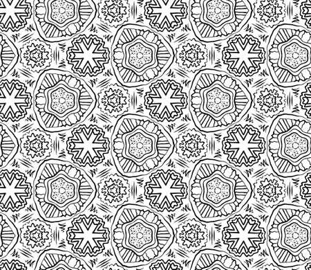 Seamless Floral White Black Background, Flower Hand Drawn Pattern, Vector Illustration Vector