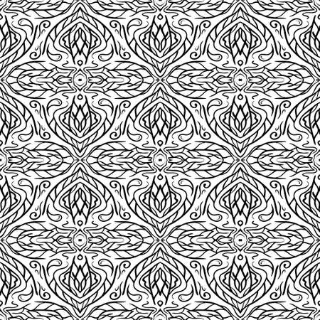 white wallpaper: Seamless Abstract Hand Drawn Pattern. Floral Background. Vector Black White Wallpaper