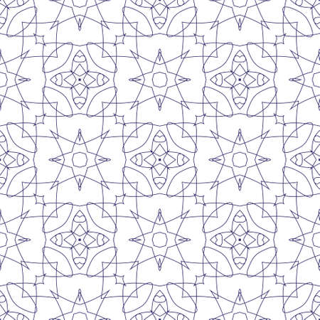 Vector Seamless Illustration of Blue Tangier Grid, Abstract Guilloche Background Vector