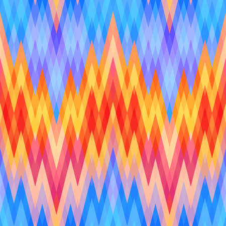 Colored Abstract Retro Striped Background, Fashion Zigzag Pattern of Blue, Red and Yellow Stripes Vector