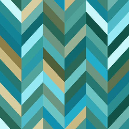 Color Abstract Retro Vector Striped Background, Fashion Zigzag Seamless Pattern of Turquoise Stripes