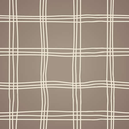 Seamless Hand Drawn Brown Background of Plaid Pattern Vector