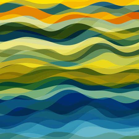 黄色と緑の波の抽象的なデザイン創造性の背景