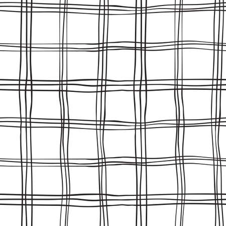 シームレスな手描きの格子縞のパターン、ベクトル図の黒白い背景  イラスト・ベクター素材