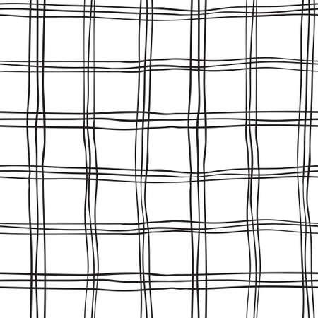 Seamless Hand Drawn Black White Background of Plaid Pattern, Vector Illustration