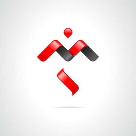 letras negras: Combinación de letras M y S. Abstract Vector Logo plantilla de diseño. Creativa Icono rojo del concepto de Negro Vectores