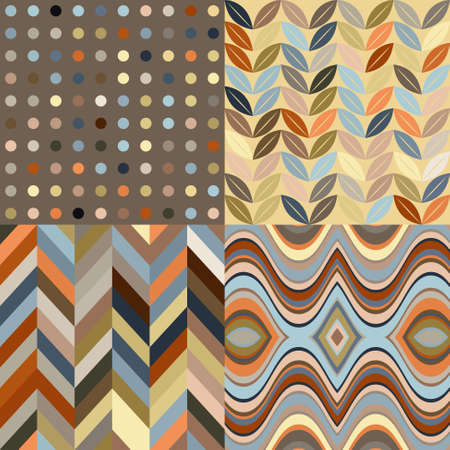 retro backgrounds: Set of Vector Seamless Abstract Backgrounds, Retro Brown Patterns Illustration