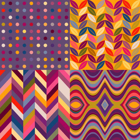 Set of Vector Seamless Abstract Backgrounds, Retro Multicolored Patterns Vector
