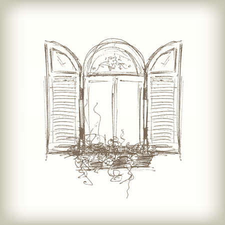 door: Scribble Vector Window. Drawn Pencil Sketch Style Window with Shutters