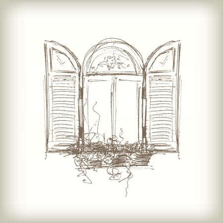 Scribble Vector Window. Getrokken Schets van het potlood Stijl Venster met Blinden Stock Illustratie