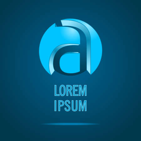 Abstract Vector Symbol Design Template. Creative Blue Concept Icon. Combination of Letter A Vector