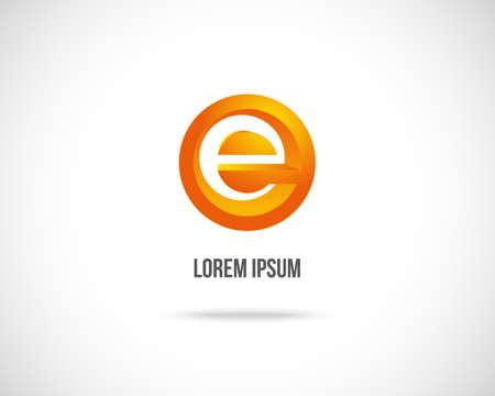 e alphabet: Abstract Vector Icon Design Template. Creative Orange Concept Icon. Combination of Letter E
