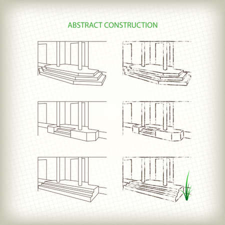doorstep: Scribble and Sketch Vector Stoops. Drawn Pencil and Outline Entrances of House Illustration
