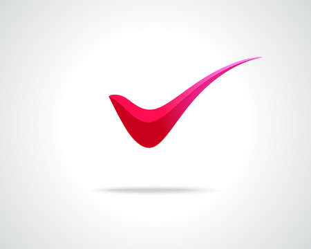 v shape: Abstract Vector Emblem Design Template. Creative Red Tick Concept Icon. Combination of Letter V
