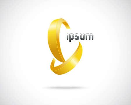 Abstract Vector Design Template. Creative Icon Gold Concept
