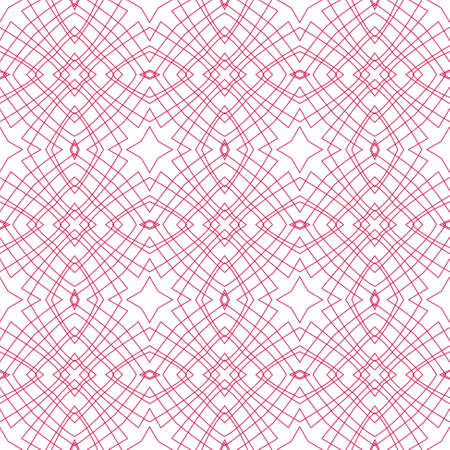 tangier: Vector Seamless Illustration of Red Tangier Grid, Abstract Guilloche Background