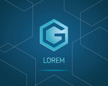g: Abstract Hexagon Vector Design Template. Creative Blue Concept Icon. Combination of Letter G