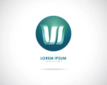 letter w: Abstract Vector Design Template. Creative Green Round Concept Icon. Combination of Letter W