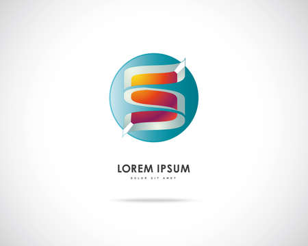 Abstract Vector Logo Design Template. Creative Round Concept Icon. Combination of Letter S photo