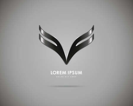 Vector Black Wings of Gray Background. Abstract Creative Concept Icon. Illustration