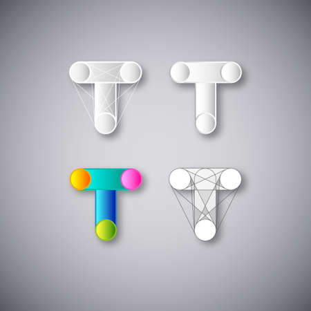 letter t: Abstract illustration   Design Template  Creative White and Color Concept Icons  Combination of Letter T