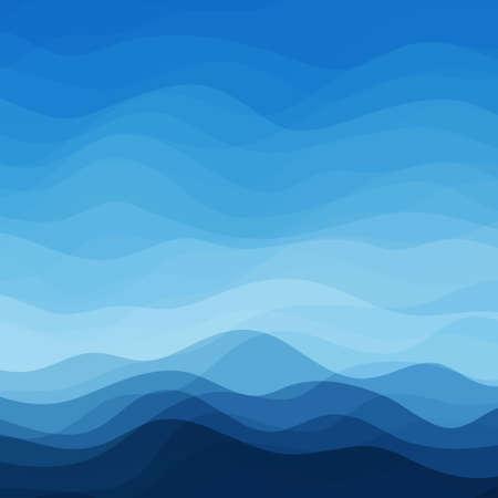 青い水平波の抽象的なベクトル デザインの創造性の背景