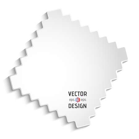 zigzag: Vector Square Frame Banner. White Zigzag Border