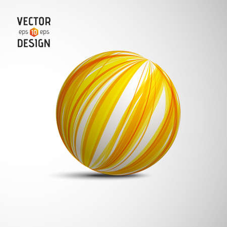 Abstract Vector Sphere from Yellow Lines. Creative Round Concept Vector