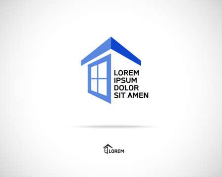 estates: Casa Resumen Inmobiliaria Campo Logo plantilla de dise�o para la compa��a. Edificio de la silueta del vector.