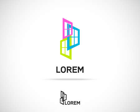 Window Emblem. Logo Simbol Element. Vector Icon