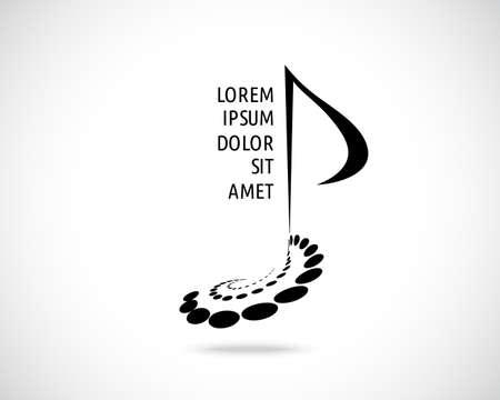 Plantilla de diseño de logotipo vectorial abstracto. Signo de nota musical. Símbolo musical Concepto Creatve Emblema Negro. Logos