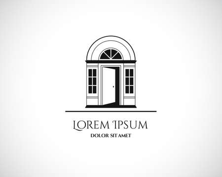 Huis Abstract Vastgoed Woon Logo design template voor bedrijf. Gebouw Vector zwart silhouet op een witte achtergrond