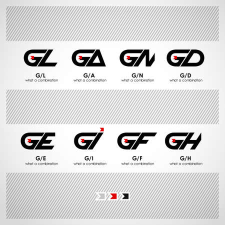 letter d: Set of Combinations of Letters G and L, A, N, D, E, I, F, H. Creative Concept Icon Illustration