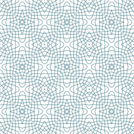 Seamless Illustration of Blue Tangier Grid, Abstract Guilloche Background
