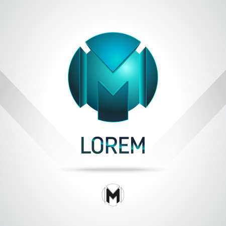 Abstract Vector Design Template. Creative Blue Concept Icon. Combination of Letter M